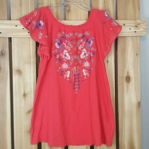 Umgee Coral Embroidered Blouse